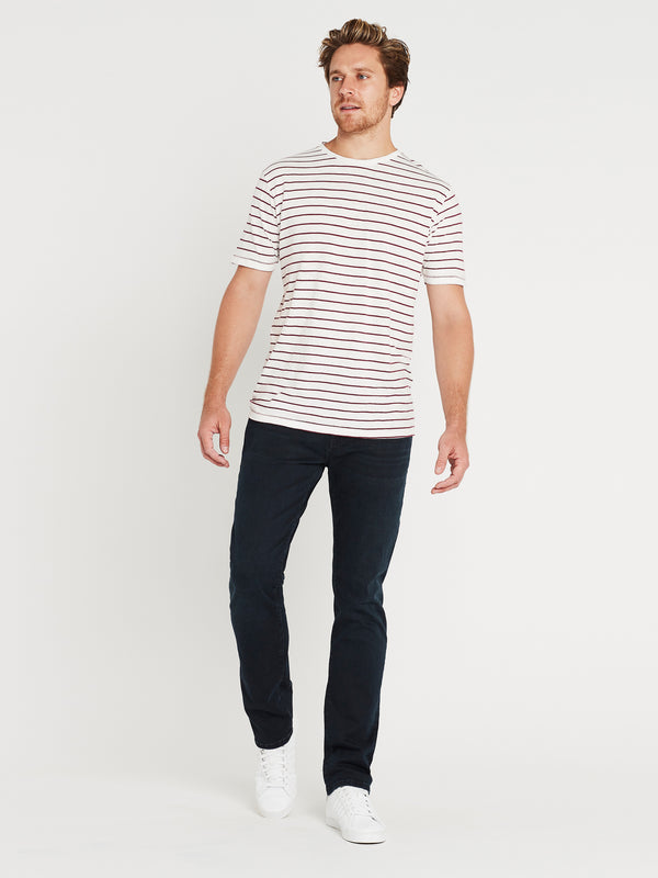 Liam Short Sleeve T-Shirt Off White & Burgundy Stripe - Mavi Jeans