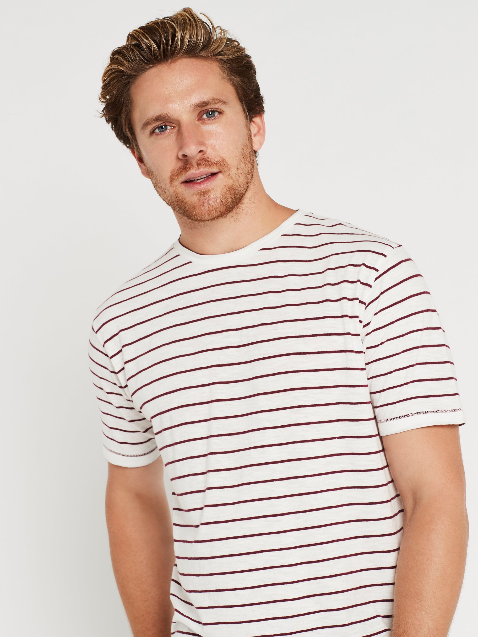 Liam Crew Neck T-Shirt in Off White & Burgundy Stripe