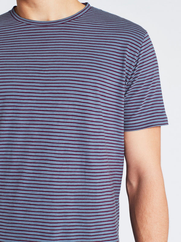 Liam Short Sleeve T-Shirt Blue Oxblood Stripe - Mavi Jeans
