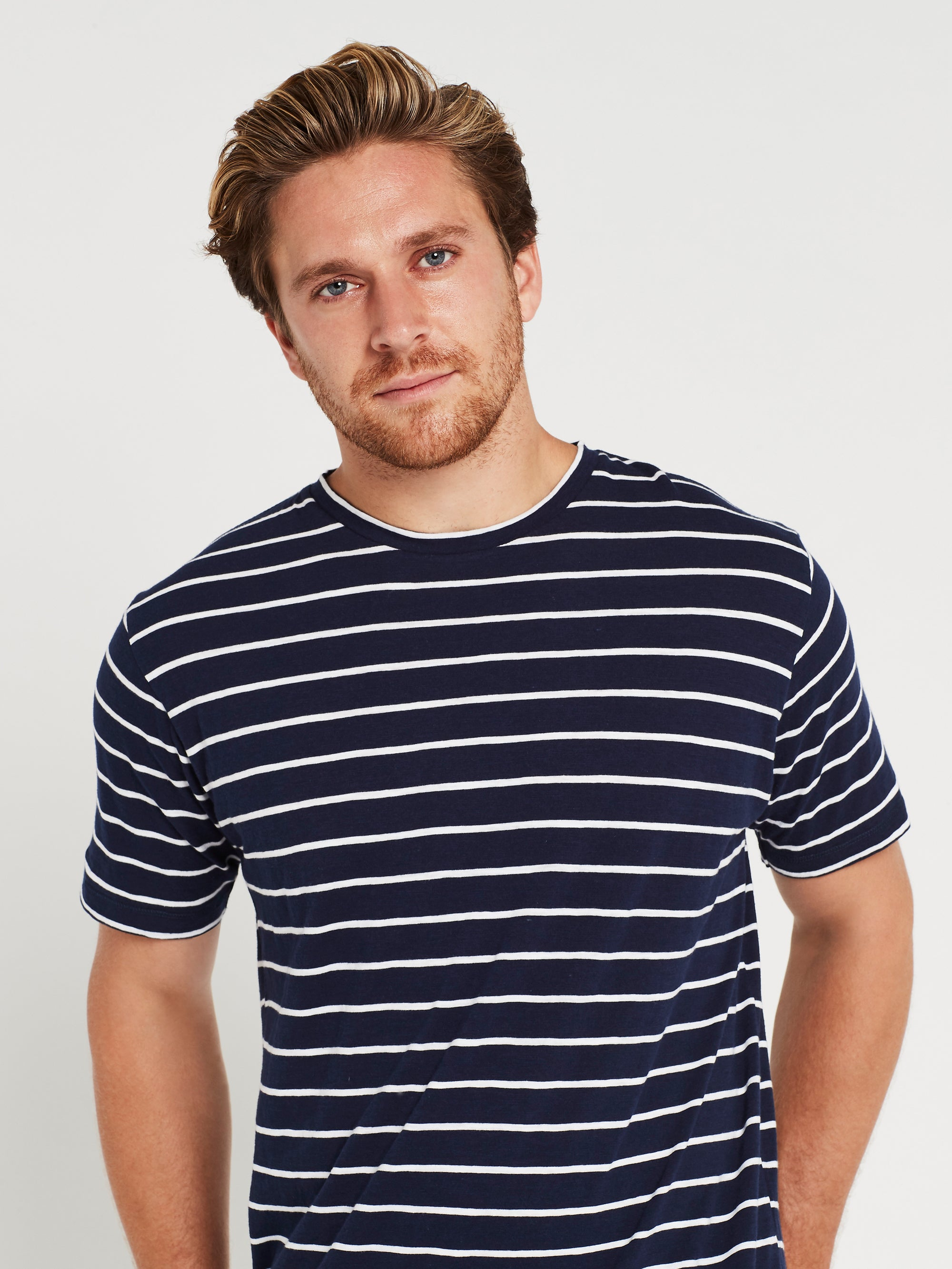 Liam Short Sleeve T-Shirt Navy & White Stripe