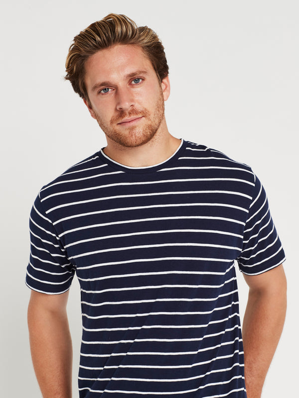 Liam Short Sleeve T-Shirt Navy & White Stripe - Mavi Jeans