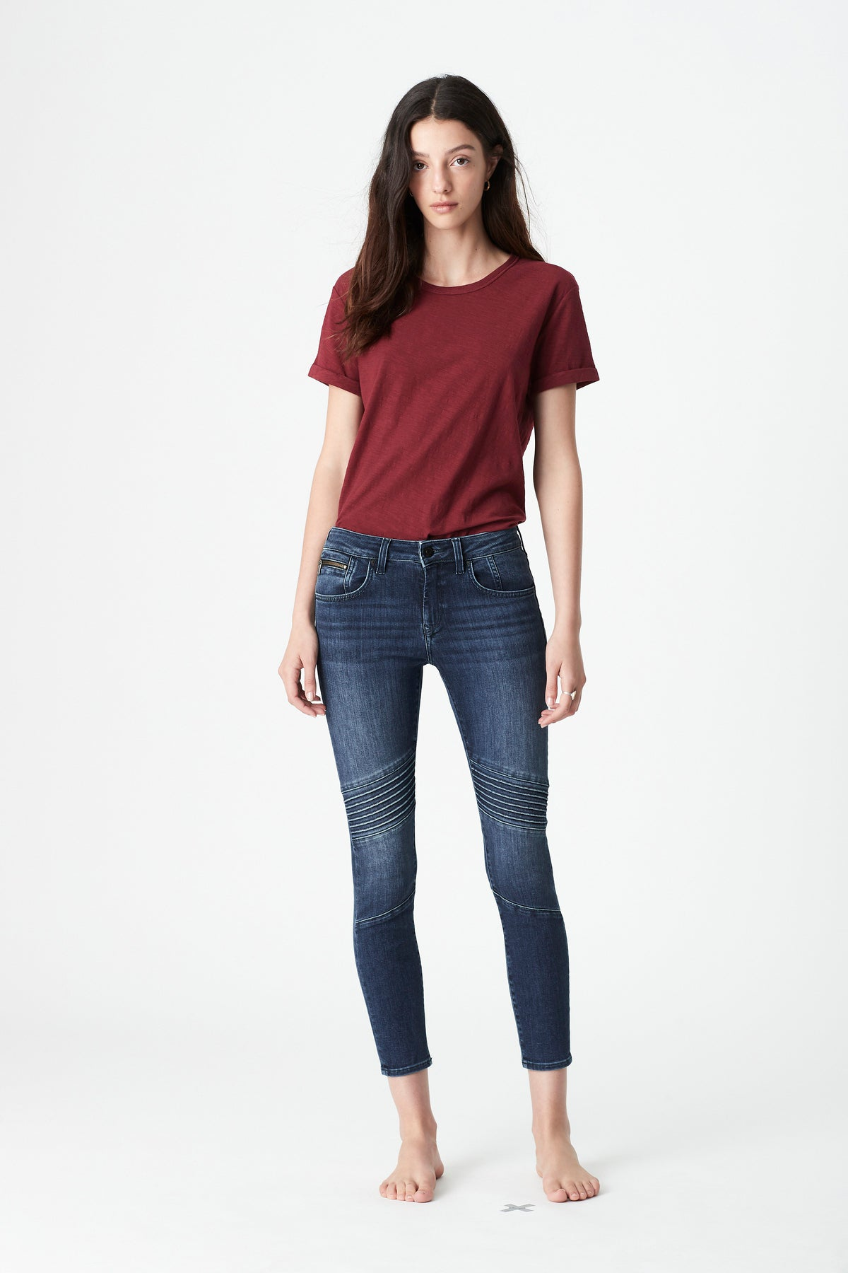 Aura Skinny Biker Jeans in Dark Blue Tribeca