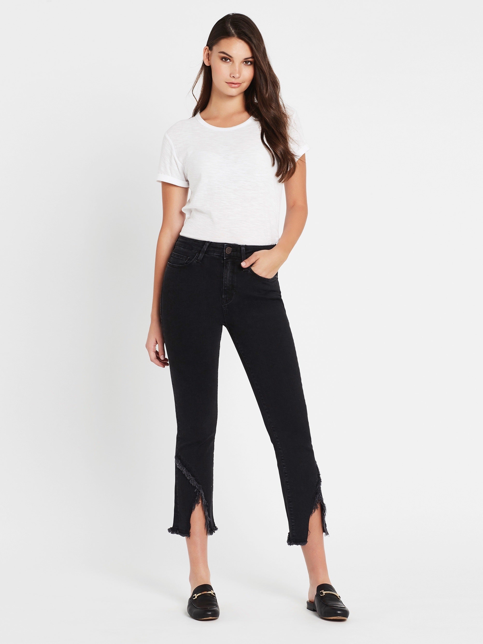 Anika Crop Flare Jeans in Smoke
