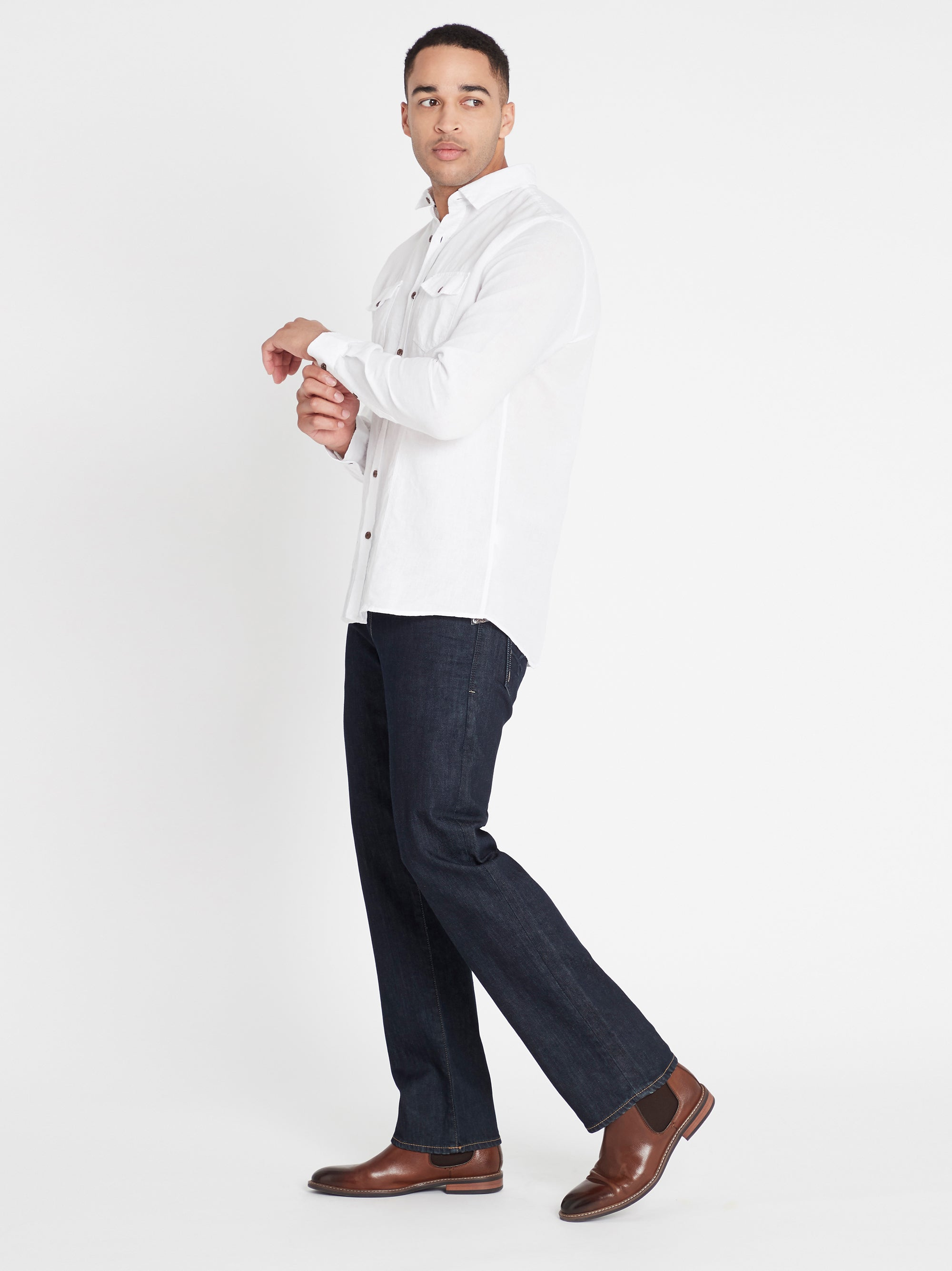 Hunter Straight Jeans in Rinse White Edge
