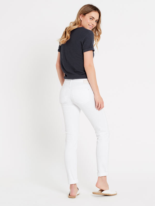 Emma Slim Boyfriend Jeans in White Ripped - Mavi Jeans