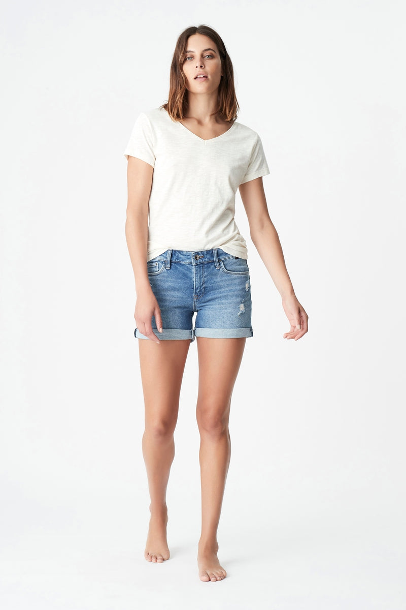 Vanna Low Rise Boyfriend Short in Ripped Gold Icon