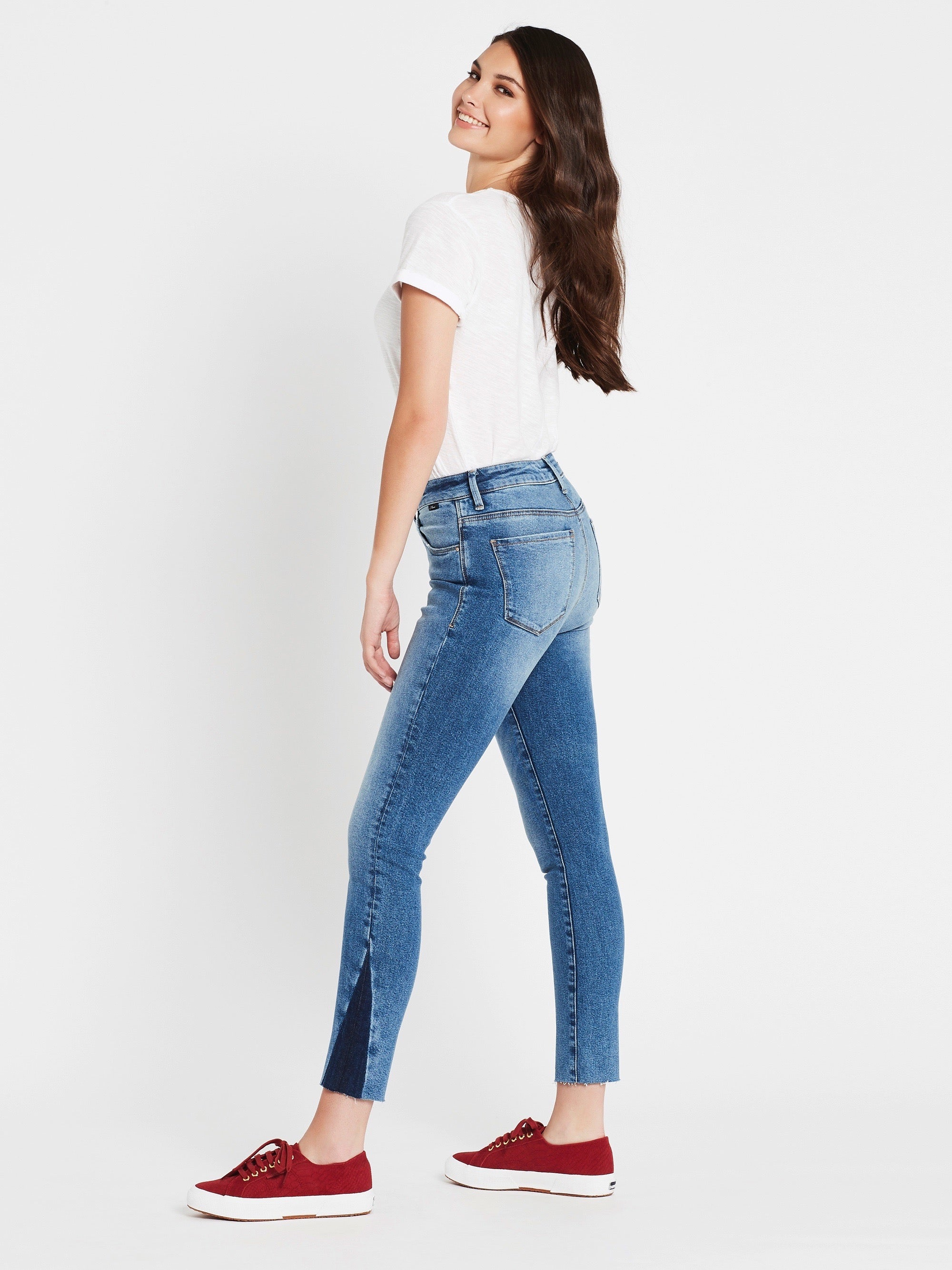 Tess Super Skinny Ankle Jeans in Indigo Blocking