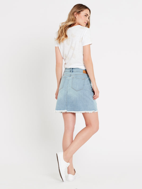 Alice A Line Skirt in Light Ripped Vintage - Mavi Jeans