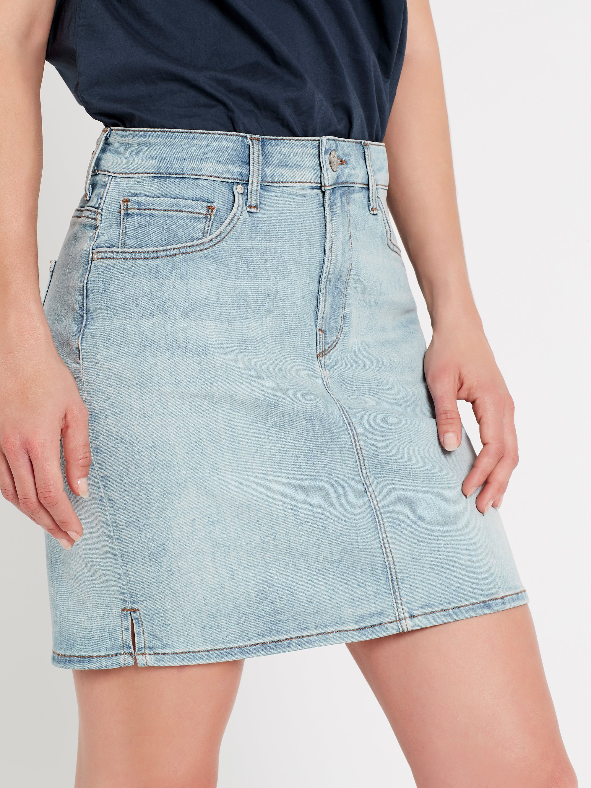 Frida Side Slit A Line Denim Skirt in Bleach Vintage