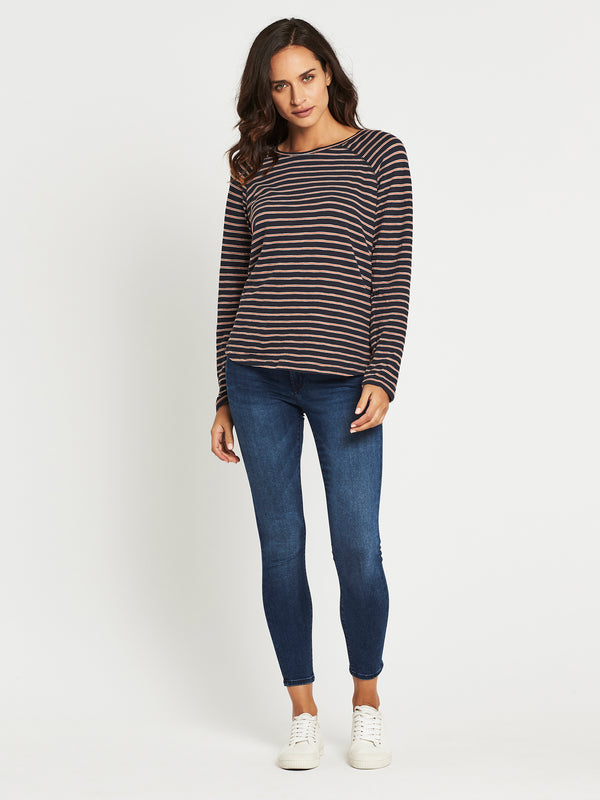 Laura Long Sleeve T-Shirt in Midnight Stripe - Mavi Jeans