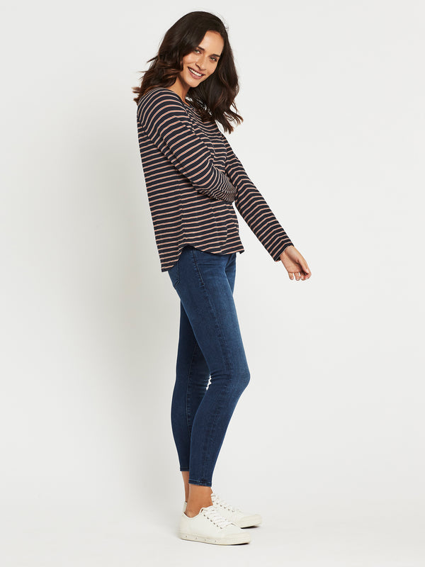 Laura Curved Hem T-Shirt in Midnight Stripe - Mavi Jeans