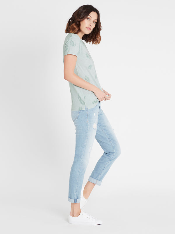 Romy Printed T-Shirt in Mint Palm - Mavi Jeans