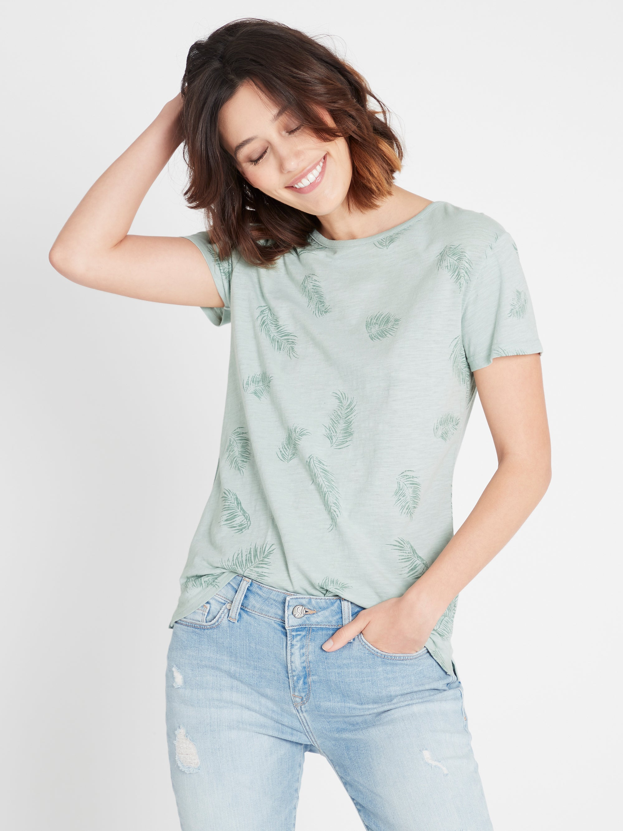 Romy Printed T-Shirt in Mint Palm