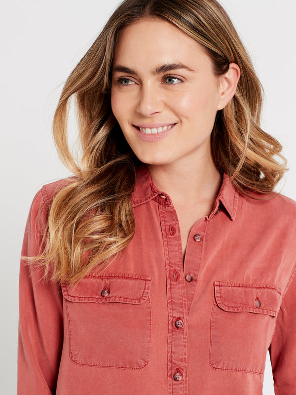 Womens Tencel Shirt in Rust - Mavi Jeans