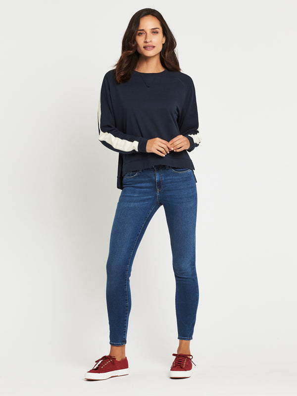 Aria Long Sleeve Sweat in Midnight Winter White - Mavi Jeans