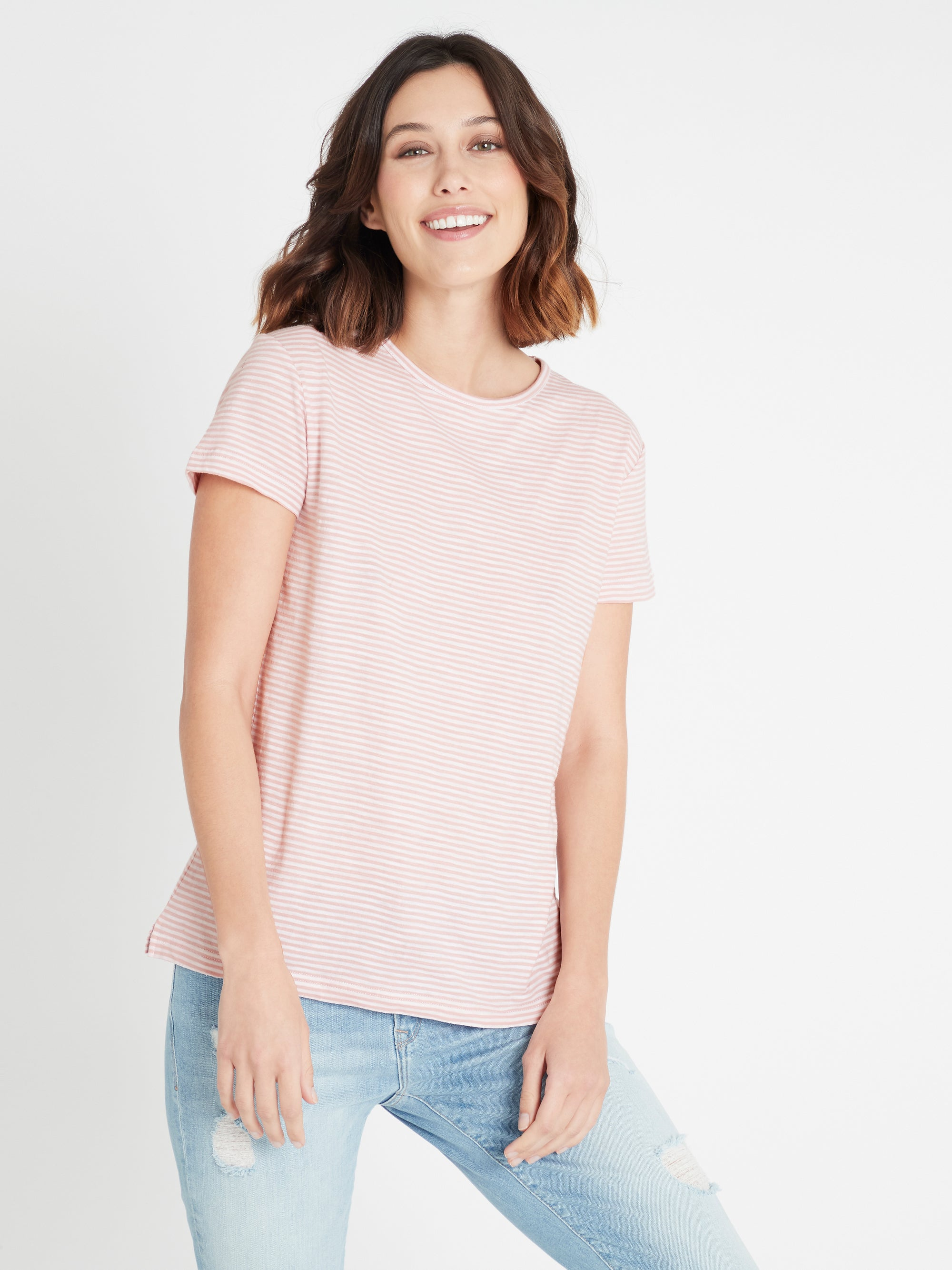 India Stripe T-Shirt in Vintage Rose White