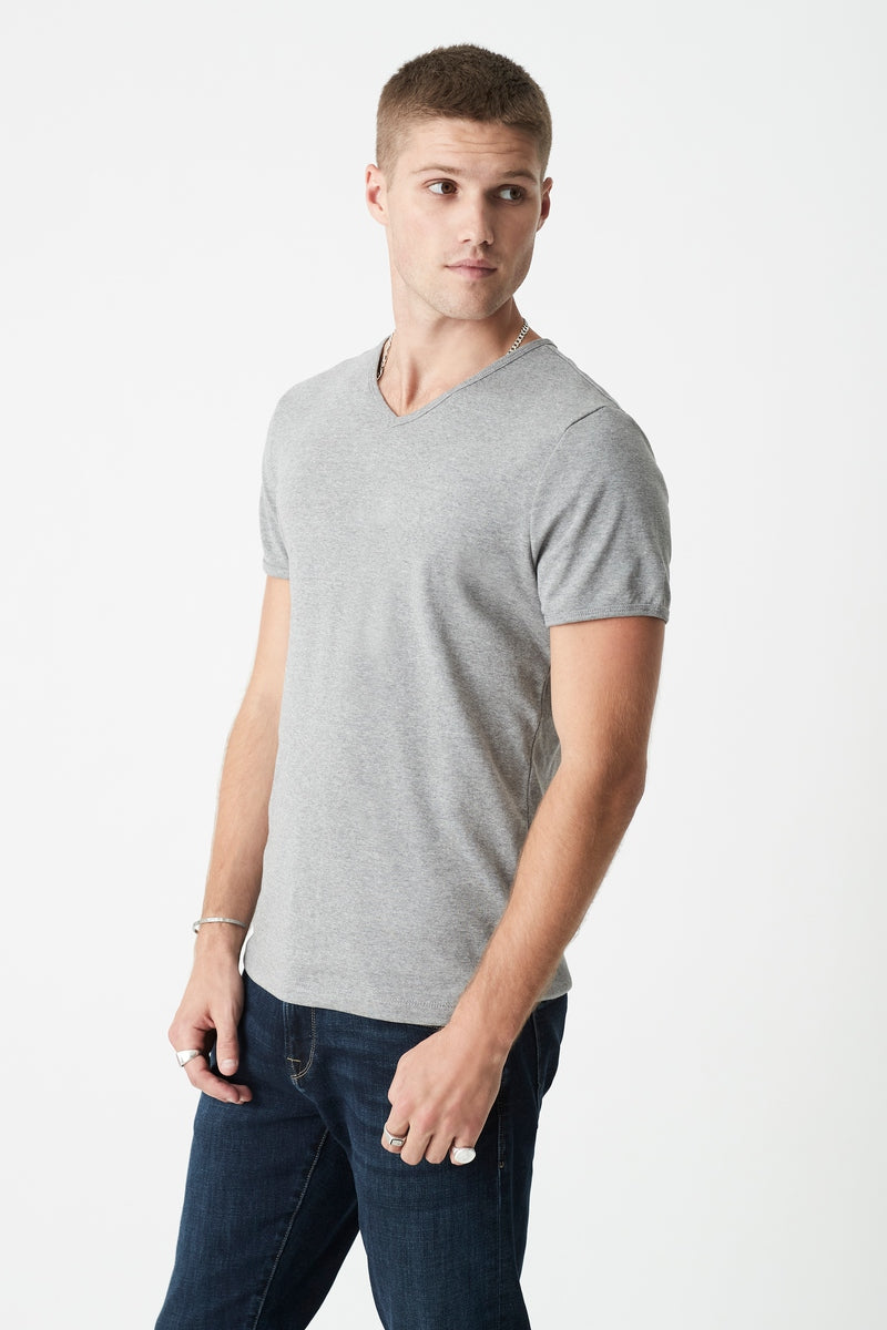 Mens V Neck T-Shirt in Grey