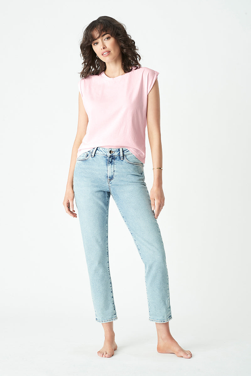Mykonos Slim Boyfriend Jeans in Light Gold Icon