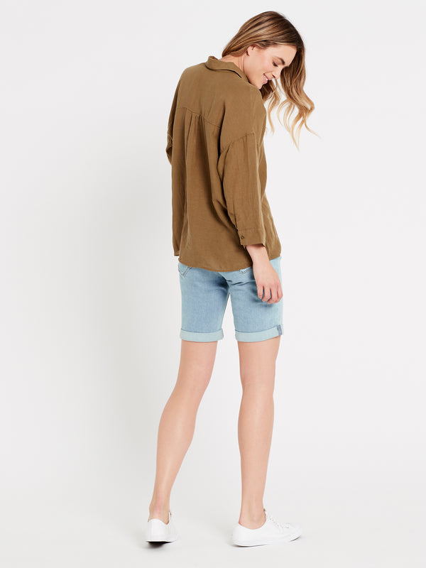 Womens Short Sleeve Linen Shirt Burnt Olive - Mavi Jeans