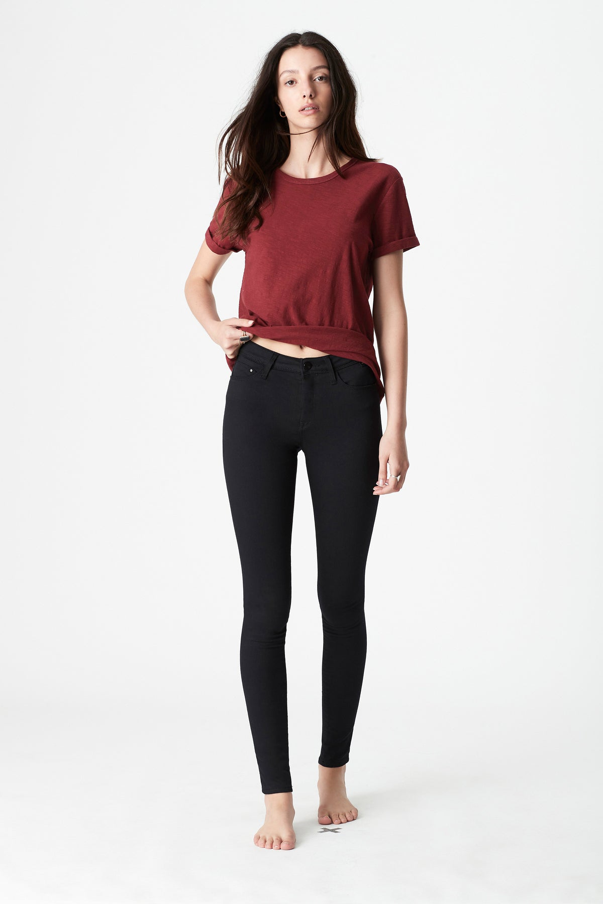 Alissa Skinny Jeans in Double Black Gold Reform