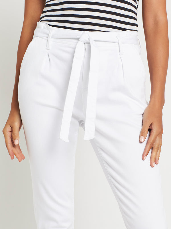 Becca High Rise Tapered Tie Pant in White Denim - Mavi Jeans