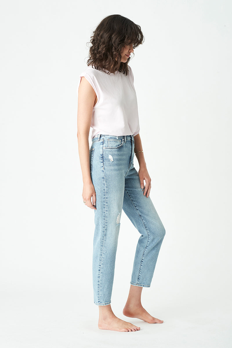 Star Mom Jeans in Mid Retro Blue Denim