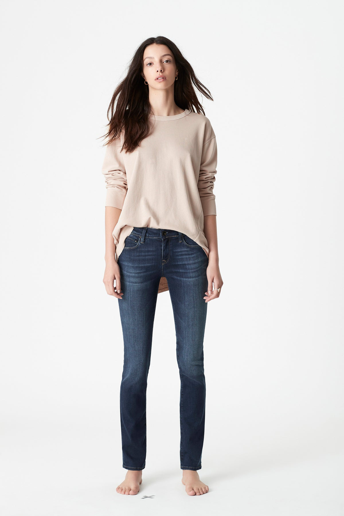 Kerry Slim Straight Jeans in Deep Gold Tencel