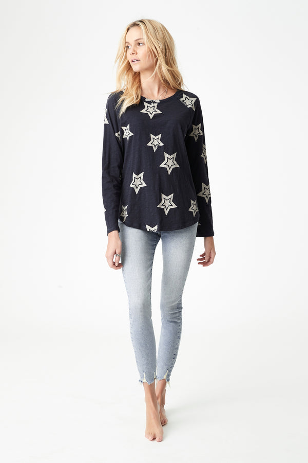 Yvette Long Sleeve T-Shirt in Midnight Large Star - Mavi Jeans