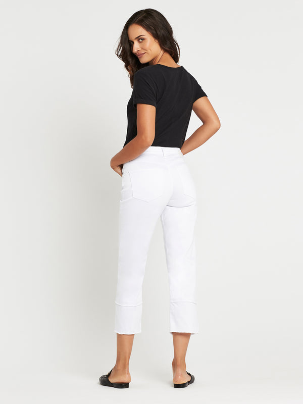 Romee Wide Crop in White Summer Stretch - Mavi Jeans
