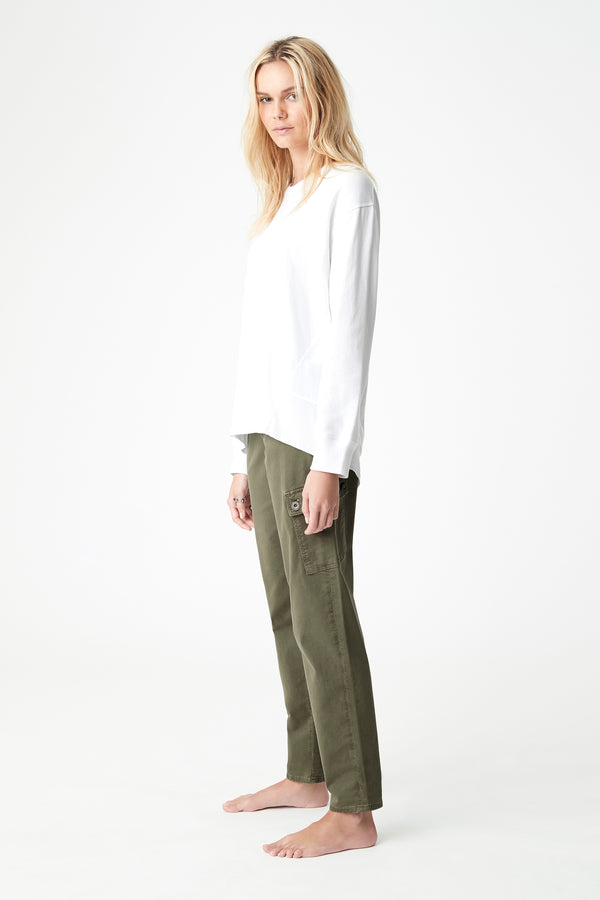 Dylan High-Low Hem Sweat in White - Mavi Jeans