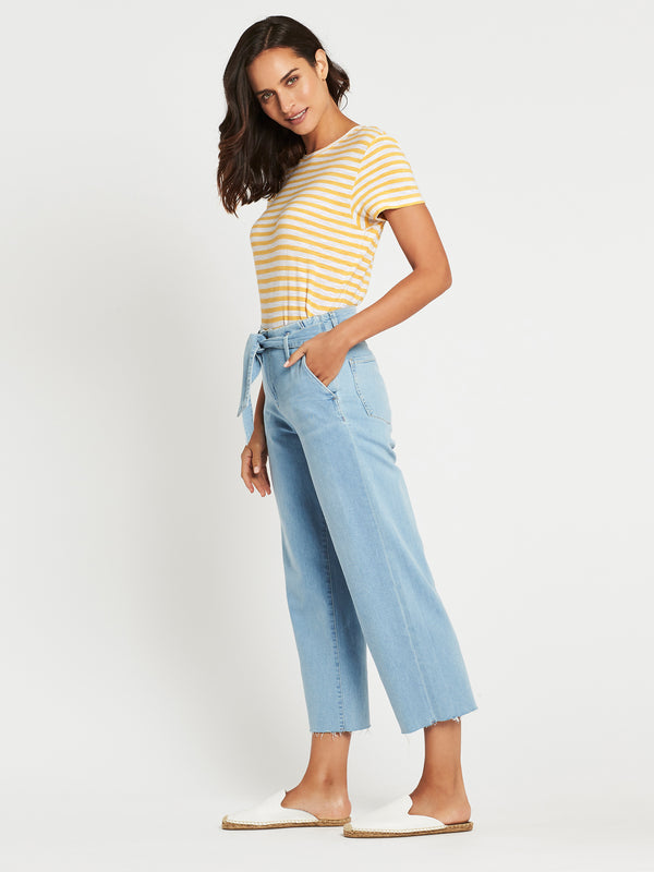 Cristin High Rise Crop Flare Jeans in Baby Blue Denim - Mavi Jeans