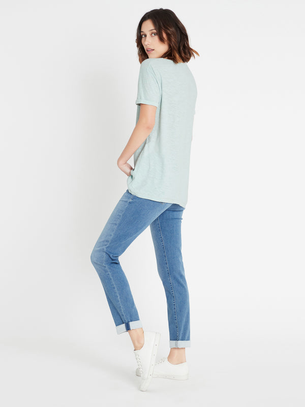 Evie Rolled Sleeve T-Shirt in Mint - Mavi Jeans