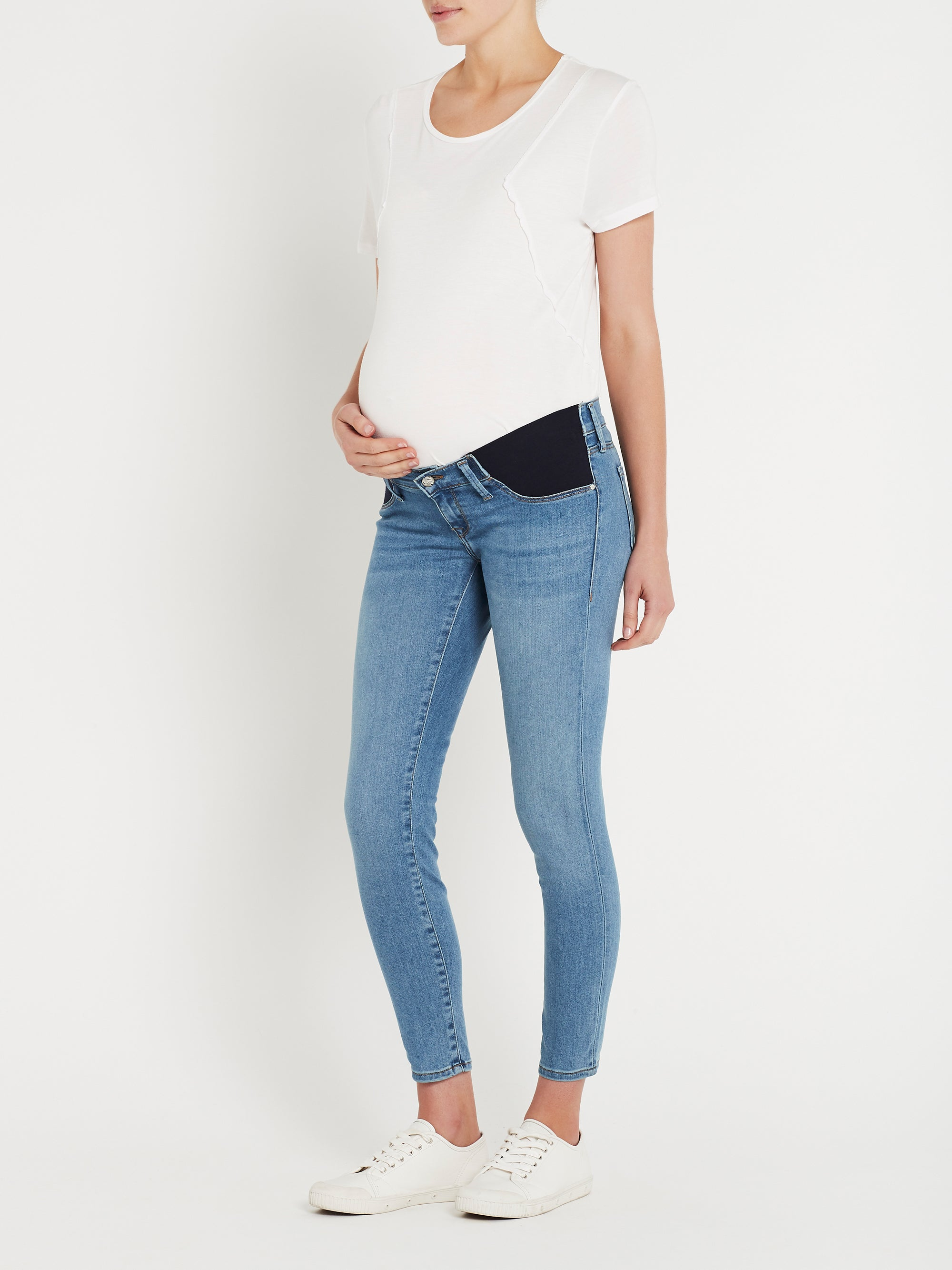 Reina Ankle Skinny Maternity Jeans in Light Brushed Super Soft