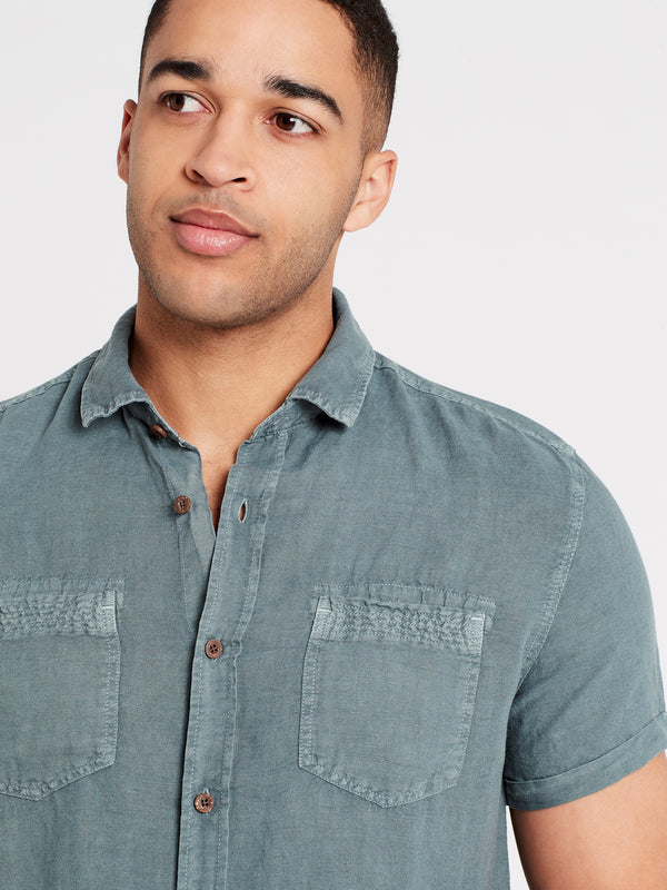 Linen Short Sleeve Shirt in Blue - Mavi Jeans