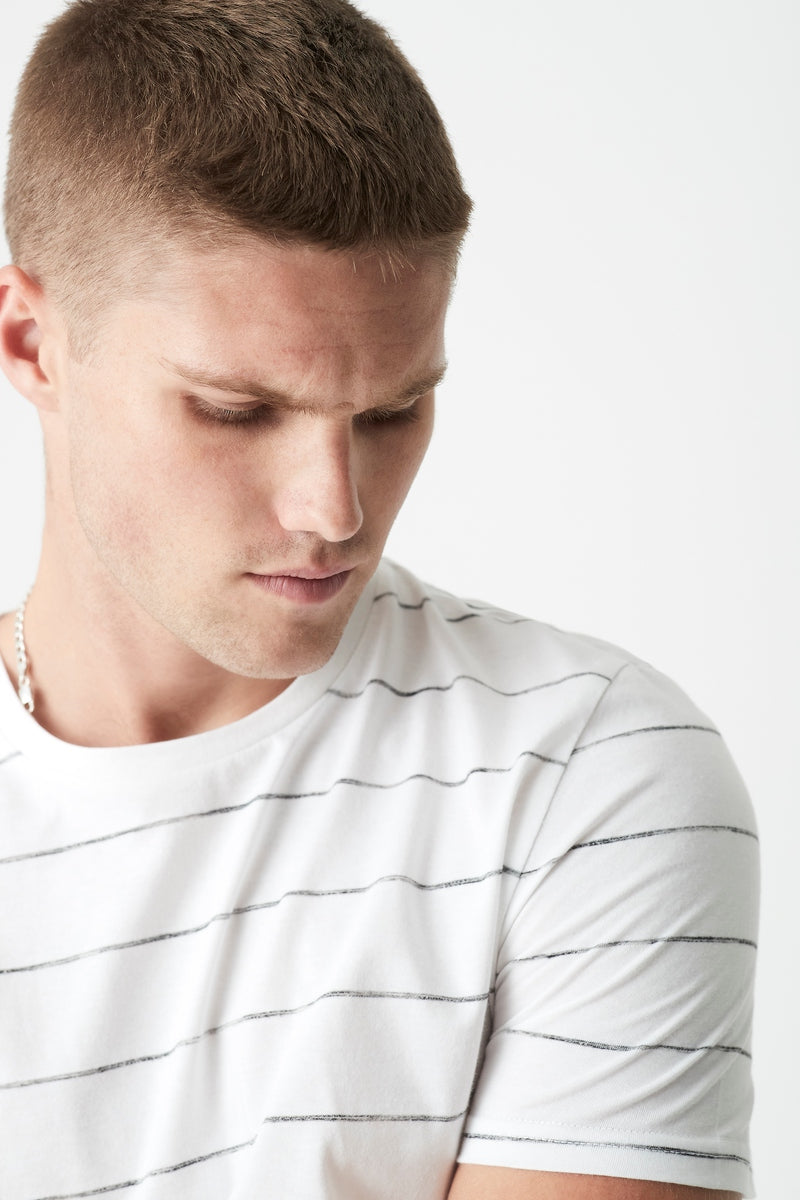 Mens Stripe Crew Neck T-Shirt in White