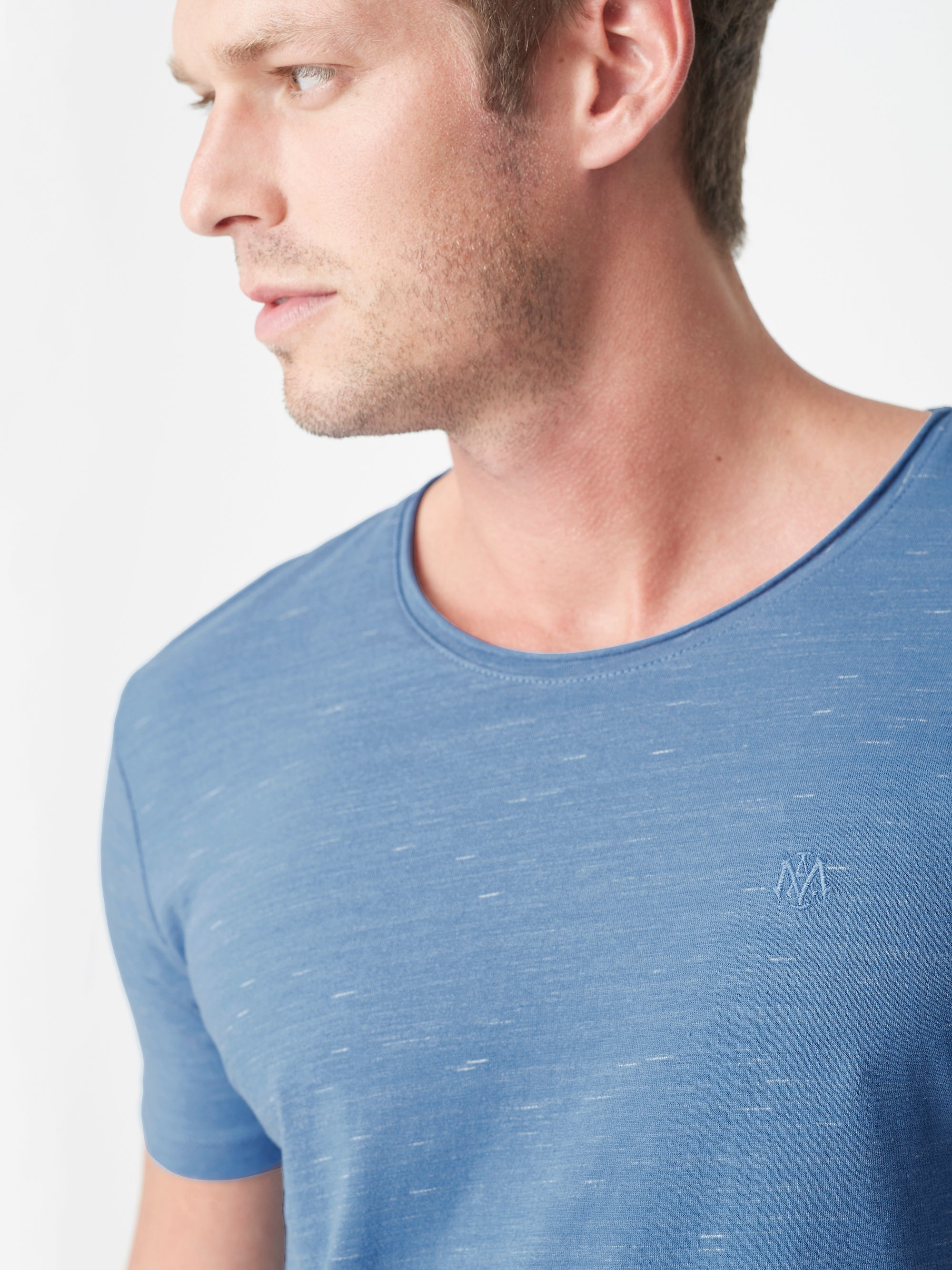 Mens Casual Crew Neck T-Shirt in Blue