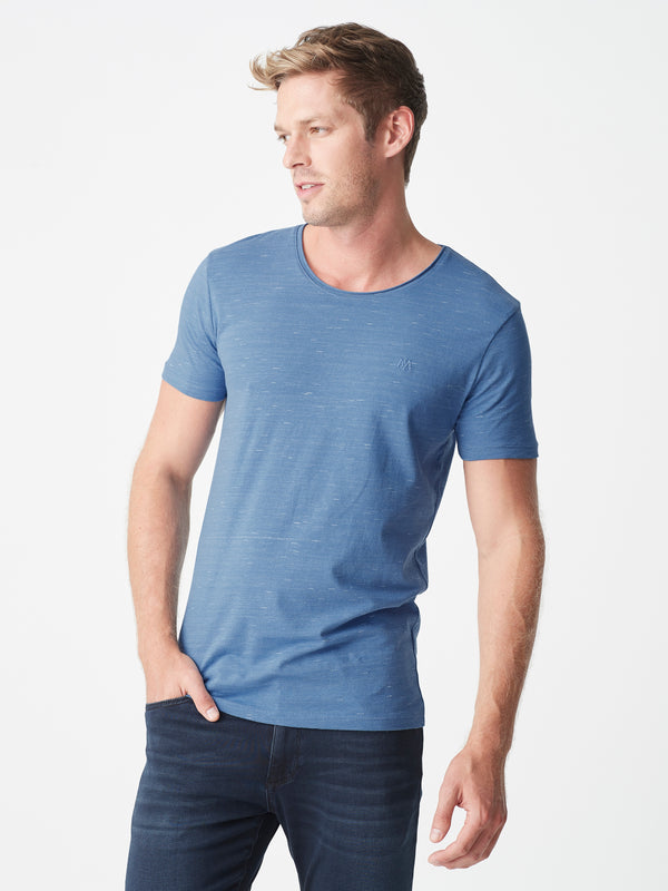 Mens Casual Crew Neck T-Shirt in Blue - Mavi Jeans