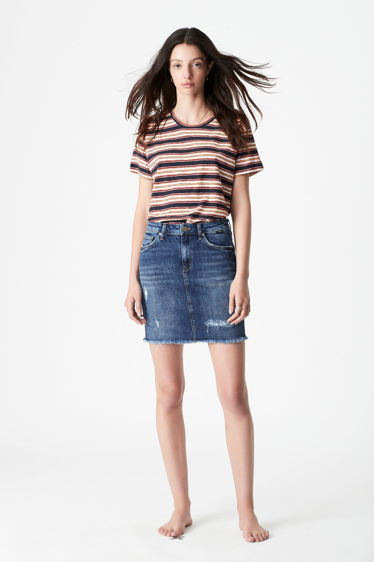 Frida Side Slit A Line Denim Skirt in Mid Ripped Vintage