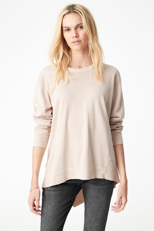 Dylan High-Low Hem Sweat in Oatmeal - Mavi Jeans