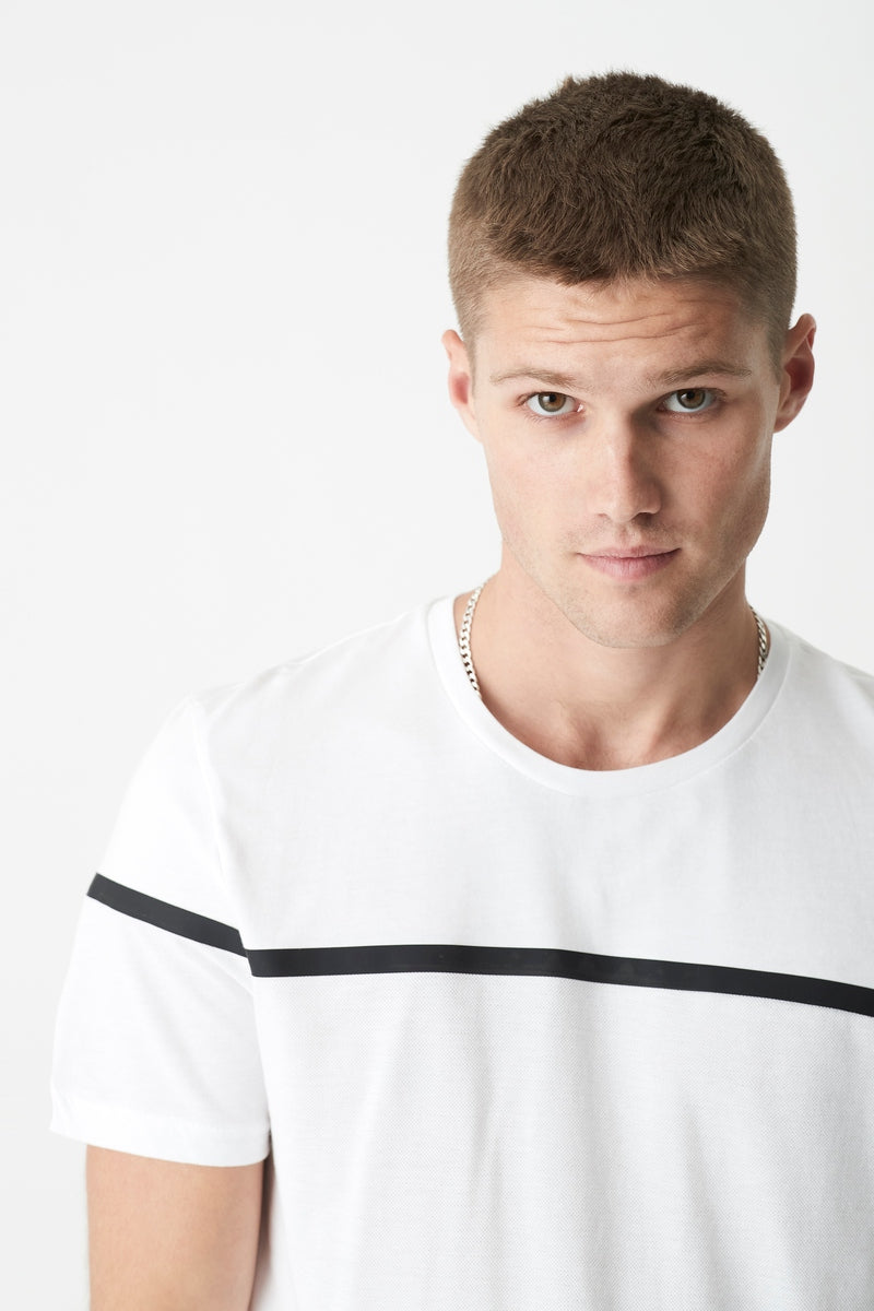 Mens Stripe Print Crew Neck T-Shirt in White