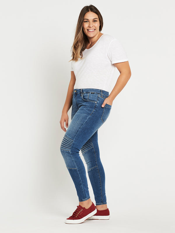 Aura Super Skinny Ankle Biker in Mid Brushed Glam - Mavi Jeans