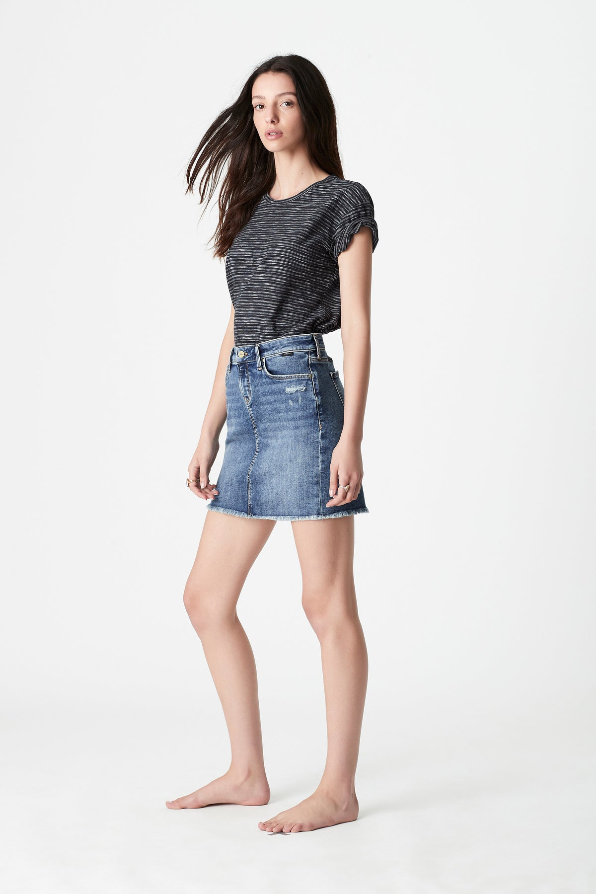 Alice A Line Denim Skirt in Ripped & Destroyed Hem Vintage