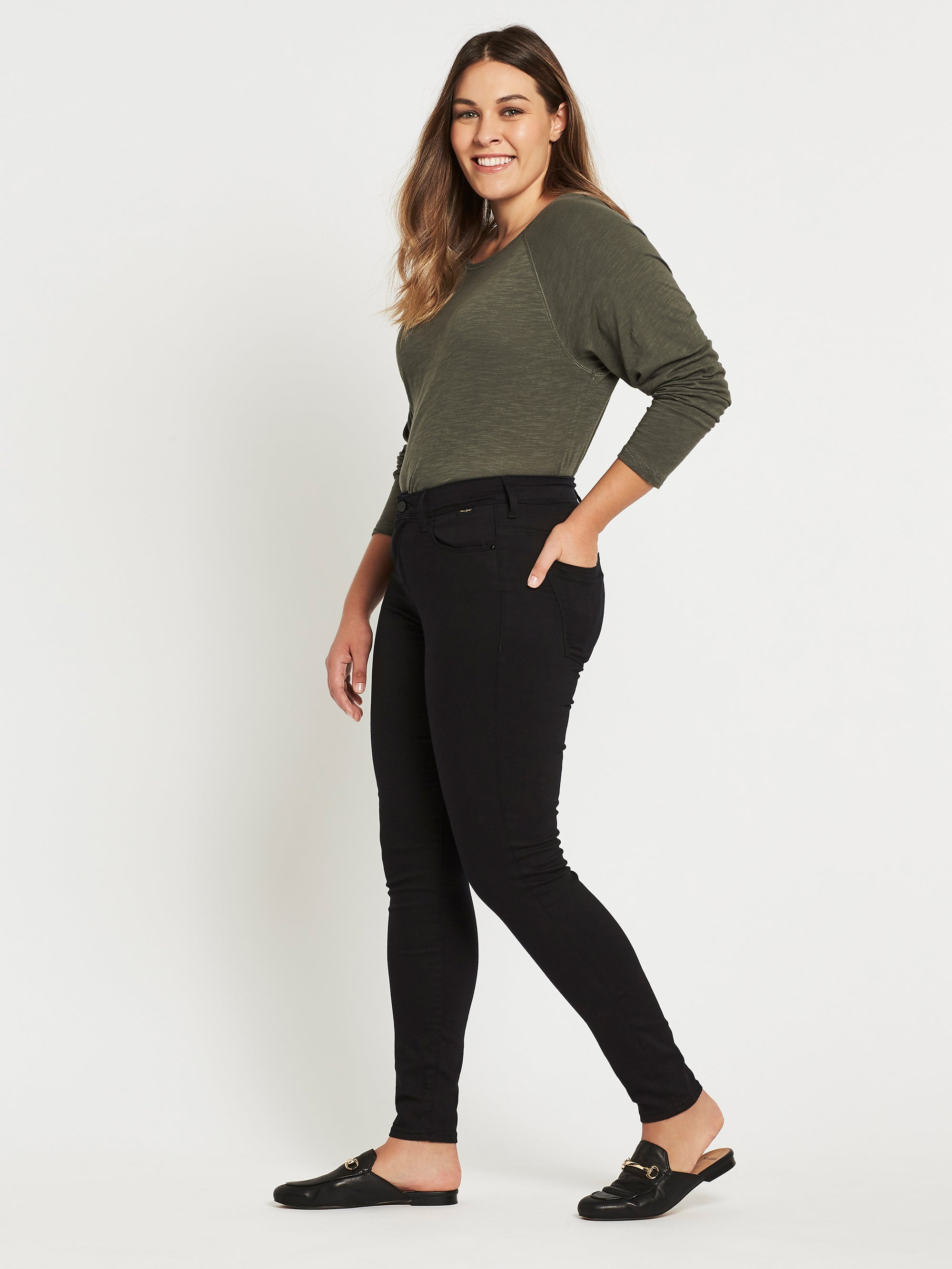 Alissa Ankle Skinny Curve Jeans in Double Black Gold Reform