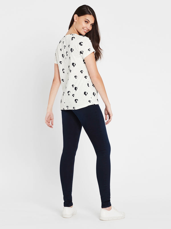 Romy Short Sleeve T-Shirt Winter White Midnight Leopard - Mavi Jeans