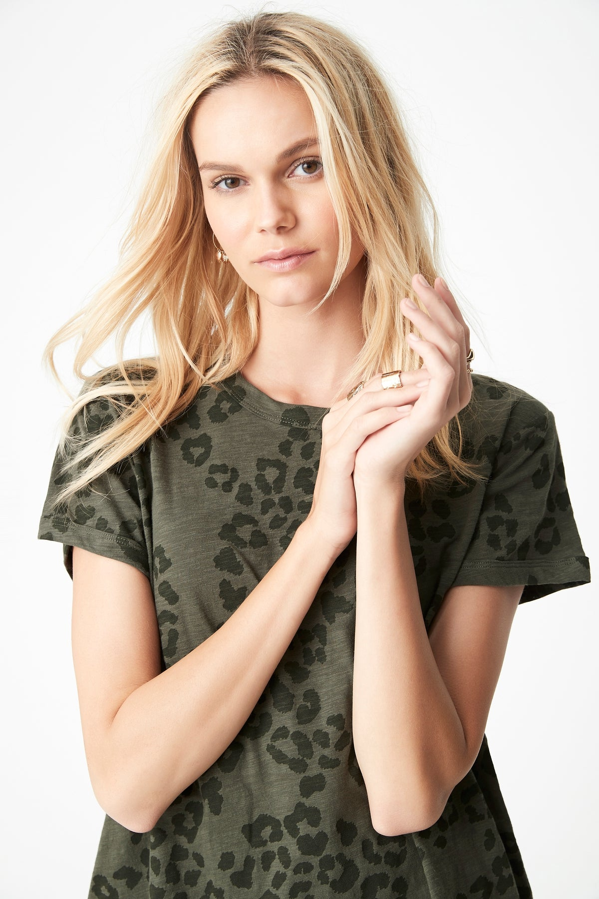 Maddie High Low Printed T-Shirt in Utility Leopard