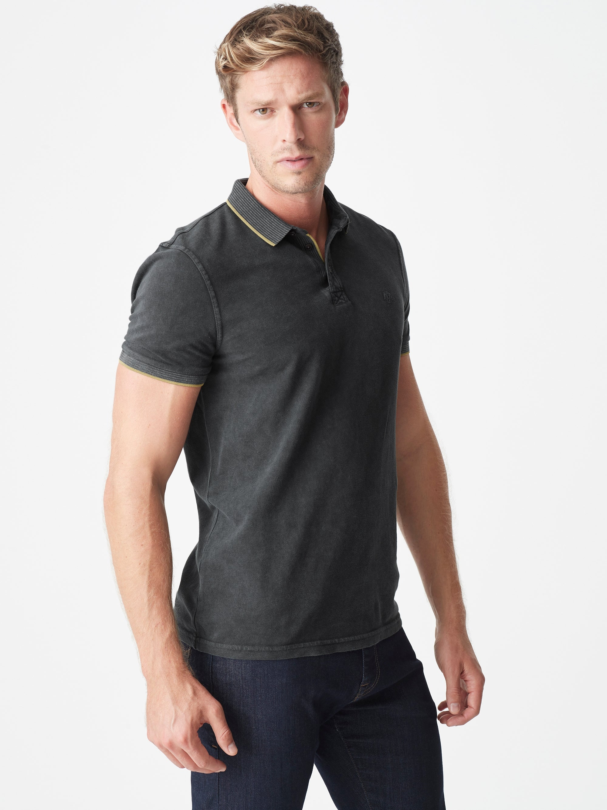 Mens Short Sleeve Polo Shirt in Dark Shadow