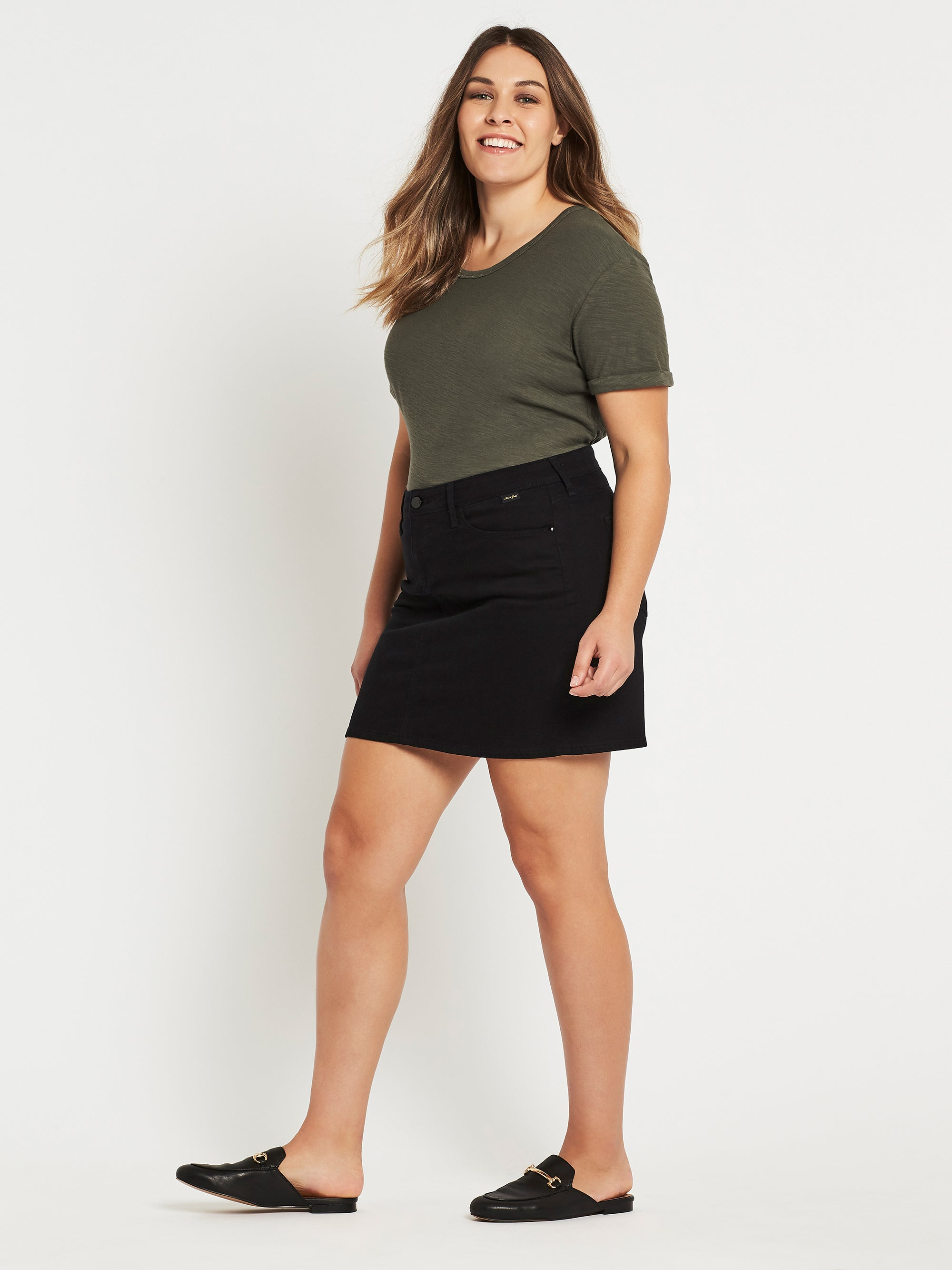 Alice A Line Curve Denim Skirt in Black Gold
