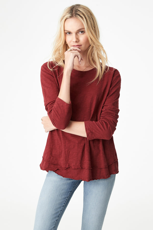 Annalie Asymmetric T-Shirt in Mulberry - Mavi Jeans