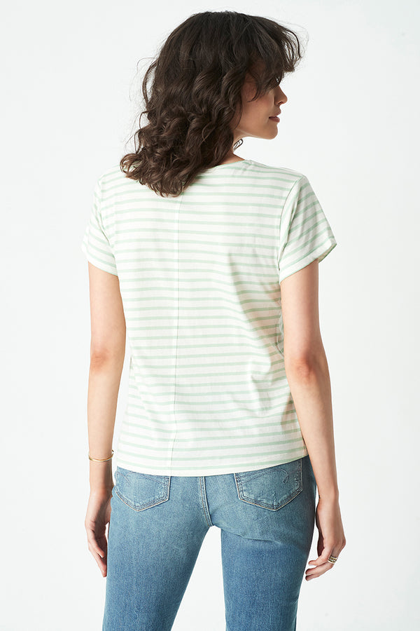 Alfie Striped T-Shirt in Lime White Stripe - Mavi Jeans