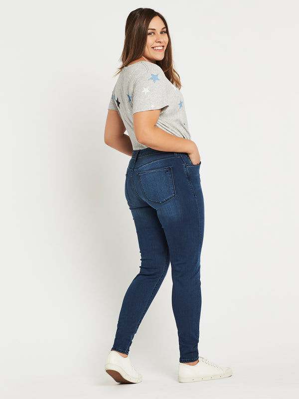 Lucy Super Skinny Ankle in Deep Ink Gold - Mavi Jeans